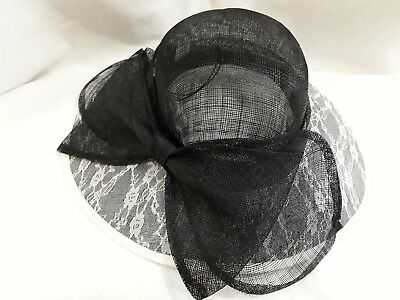 Black/White sinamay Classic/Vintage Style Ladies Hat, Wedding/Races/Occasions