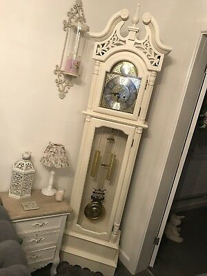 Antique Shabby Chic Cream Grandfather Clock With Original Key!