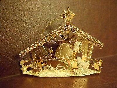 "Danbury Mint Gold Ornament  ""Stable""  2017"