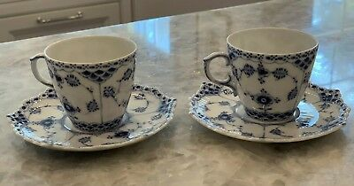Set Of 2 Royal Copenhagen Blue Fluted Full Lace Demitasse Cups & Saucers - 1038