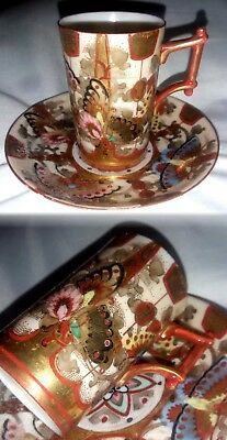 Antique Japanese Hand Painted Butterflies Thin Porcelain Cup And Saucer Signed