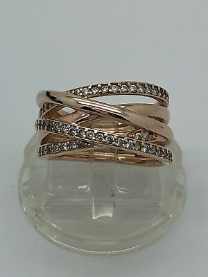 306e1407a AUTHENTIC PANDORA SILVER Rose Entwined Ring w/ BOX Size 5 180919CZ ...
