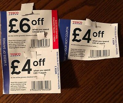Tesco Club Card Vouchers £14 Worth Savings Money off Coupons £6 off £40 shopping