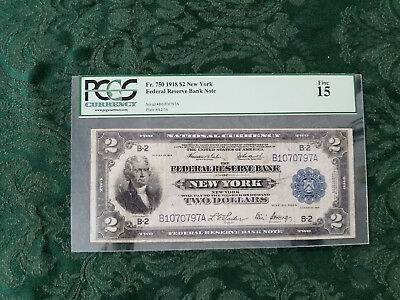 """1918 $2 Federal Reserve Bank Note """"Battleship Note"""" Fr. 750 Graded PCGS 15 Fine"""