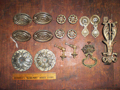 Lot 16 Antique Ornate Solid & Stamped Brass Drawer Pulls 2 Piece & Bail Handle