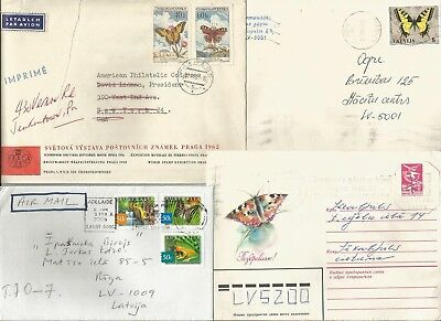 Birds  4 Cover Beleg Reg butterfly Schmetterling papillon USSR Latvia  Czech