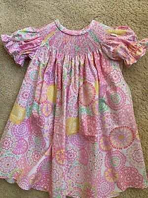 6 MOS /& 3T READY TO SMOCK GRAY MITTEN PRINT BISHOP DRESS WITH PIPING SIZES 3