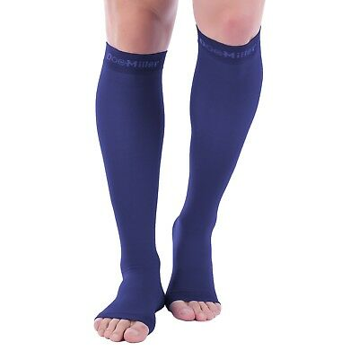 Doc Miller Open Toe Compression Sleeve 30-40 mmHg Varicose Veins DARK BLUE