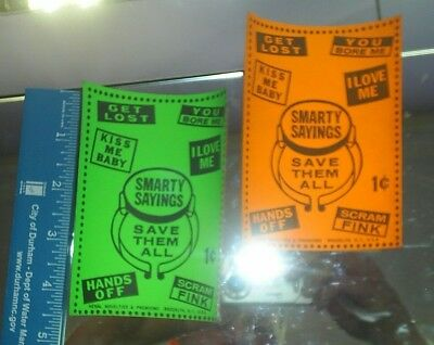 Old  Smarty Sayings GUMBALL frount ad card 1960 New Old stock Two cards