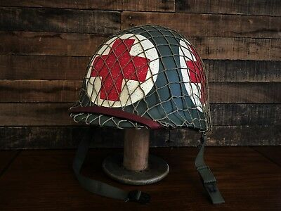Wwii Us Army 4 Panel Combat Medic Helmet ~ M1 D-Day -  Complete