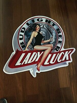 "Bud Light Beer - LADY LUCK - Metal Embossed Sign 1991 Large 31"" x 36""."