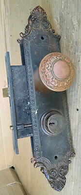 Antique Victorian Large Ornate Brass Entryway Doorknobs, Plates & Lockset 1900
