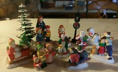 Lot of 11 Christmas Snow Village Figurines Dept 56 Lemax Lefton!