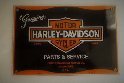 Harley-Davidson Motor Cycles Parts & Service Porcelain & Heavy Steel 8 X 12 Sign