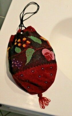 Antique Victorian Micro Bead Beaded Purse Drawstring Bag With Flowers