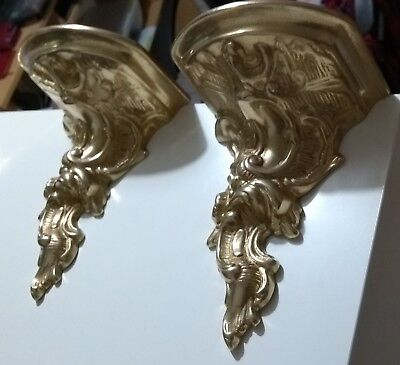 2 x vintage solid brass wall hanging shelves suitable clocks or ornaments