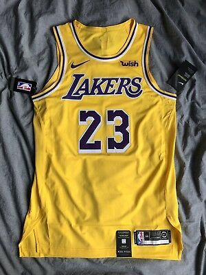 newest 343b2 8e85a NIKE LEBRON JAMES Authentic Icon Lakers Jersey 44 Home 23 Gold Wish
