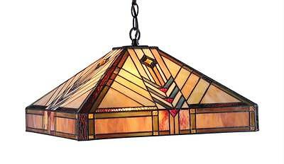 Stained Glass Chloe Lighting Mission 2 Light Pendant Fixture 18 Inch Shade New