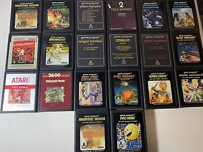 Lot Of 20 ATARI 2600 PacMan Warlords Kangaroo Tele-Games Cartridges Only TESTED