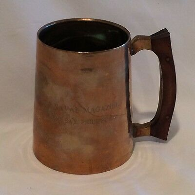 Vintage US Navy Subic Bay Naval Magazine Brass Copper Mug EO Haffey 1974-1976
