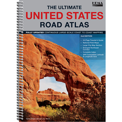 Hema Maps - Ultimate United States Road Atlas - 2Nd Edition - Index Gps City