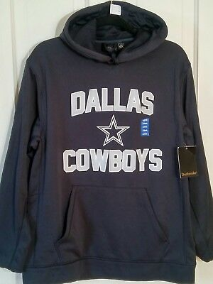 Authentic NFL DALLAS COWBOYS JERSEY NAVY BLUE HOODIE SWEATSHIRT Large (22-B)