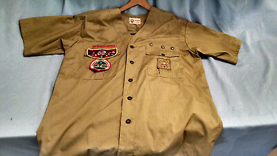 Vintage  Boy Scout Uniform Shirt - SS--Collarless -1960's-w/Patches NC--Pants
