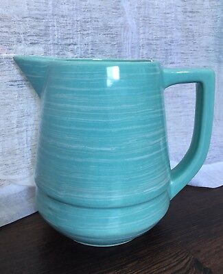 Vintage Pottery MCM Watt Esmond 220 USA Turquoise Pitcher Blue Green