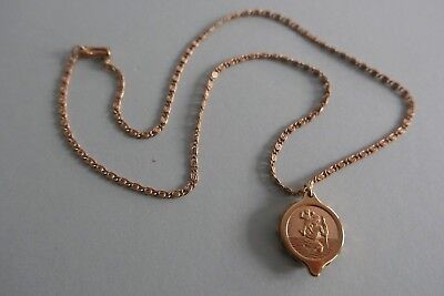 """Vintage SOS Talisman Gold Plated St Christopher Medical Pendant & 22"""" Chain"""