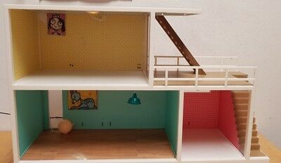 Lundby dolls house with lights and furniture