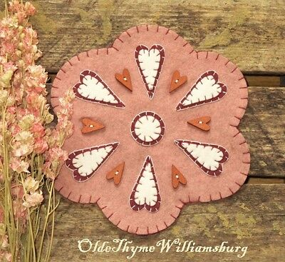 Primitive Stitchery VALENTINES Folk Heart Buttons Penny Rug ~  Rose Candle Mat