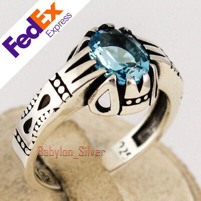 925 Sterling Silver Aquamarine Stone Turkish Handmade Men's Ring All Sizes