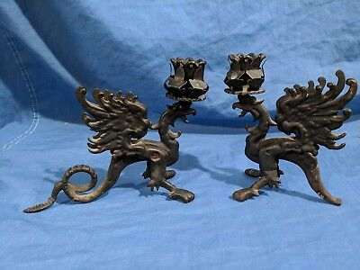 Vintage Cast Iron Metal Flying Dragon Table Top Candle Holder Solid Antique Wing