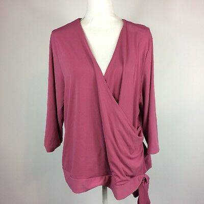 Lane Bryant Pink Draped 3/4 Sleeve Blouse Womens Plus Size 18/20 Flaw