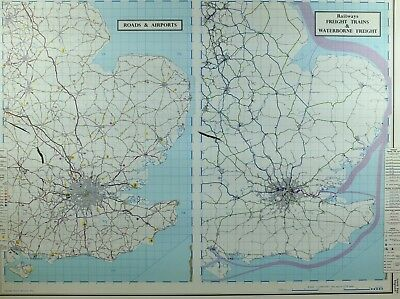 VINTAGE LARGE MAP of BRITAIN ROADS & AIRPORT RAILWAYS FREIGHT TRAINS WATERBORNE