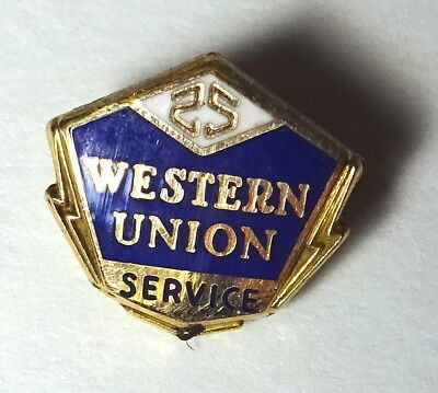 Vintage Western Union Pin 25 Year Service Badge pin 10K 1/10 GF