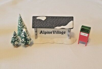 Alpine Village Sign, Mail Box, Plus 3 Small Trees , Dickens Village Lot Of 5