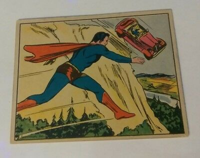 Superman 1940 vintage gum card #23 hurtling to destruction