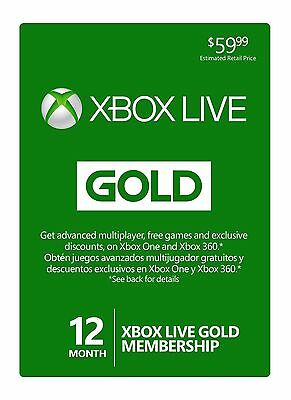 Microsoft Xbox Live Subscription 12 Month Gold Membership Card - A048045