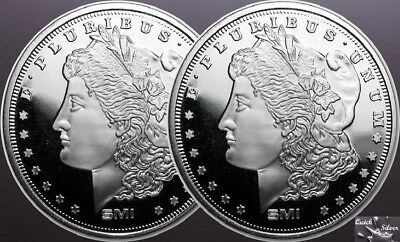 Lot of 2-1 oz Sunshine Mint Silver Morgan Dollar Round *.999 fine & MintMark SI*