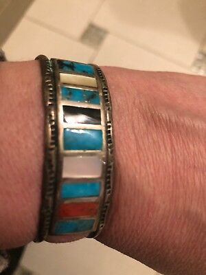IHMSS Native American Sterling Silver Cuff Bracelet Turquoise Mother Pearl Rare
