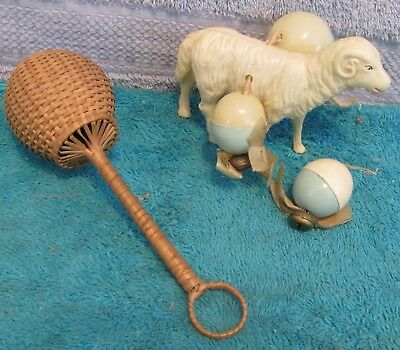 Pair Of Vtg Baby Rattles~Celluloid Sheep W/Balls & Bells~Woven Rattle W/Handle