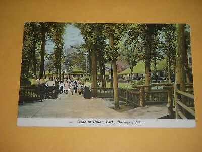 Scene In Union Park, Dubuque, Iowa - 1909 - Lots Of People Pictured