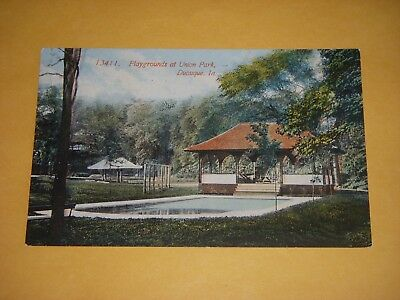 PLAYGROUNDS AT UNION PARK, DUBUQUE, IOWA - EARLY 1900s POSTCARD