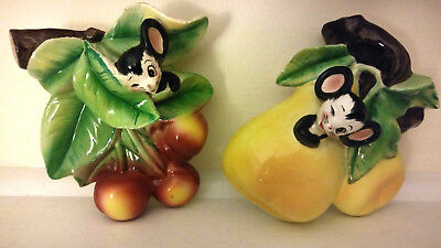 Pair of Vintage Enesco Wall Pockets Mouse And Fruit Pears and Cherries Cute!