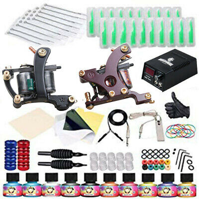 Professional Complete Tattoo Kit 2 Machine Gun 10 Color Inks Power Supply Liner