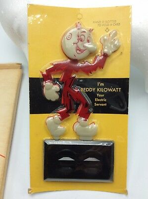 Vtg. Reddy Kilowatt Glow in Dark business card holder advertising w/orig pkg