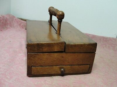 Antique Wood Wooden Sewing Pencil Pen Box with Flip Open Top and 1 Drawer