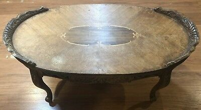 Vintage Wooden Inlay Oval Coffee Table Beautiful Carved Antique