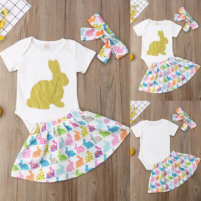 Newborn Toddler Baby Girl Easter Bunny Tops+Skirt Headband Outfit Romper Clothes